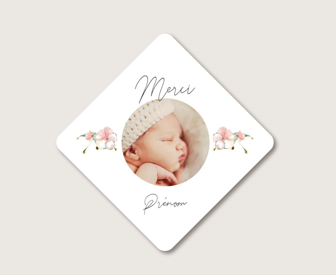 carte merci naissance petit format assortie au faire-part naissance