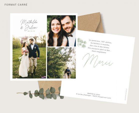 carte merci mariage originale de qualité format carré personnalisée avec photos