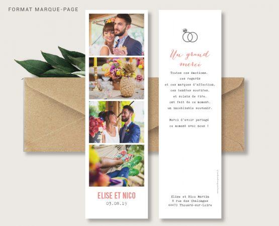 carte merci mariage originale de qualité format marque-page personnalisée avec photos