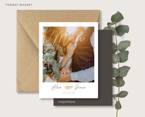 carte merci mariage originale de qualité format magnet polaroid personnalisée avec photos