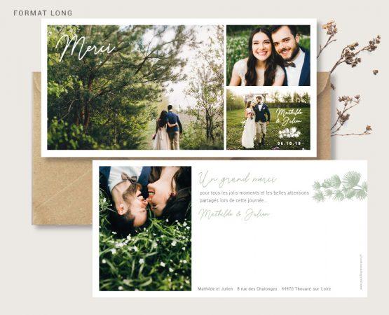 carte merci mariage originale de qualité format long personnalisée avec photos