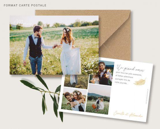 carte merci mariage originale de qualité format carte postale avec photos