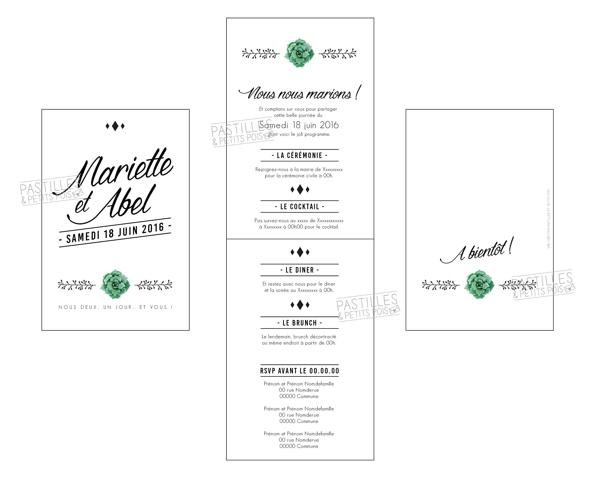 Faire-part de mariage Cinquième Avenue | noir et blanc chic élégant graphique | Pastilles et Petits Pois