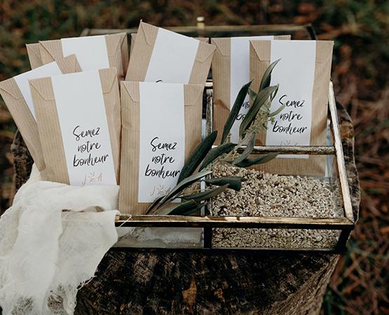 Pastilles et Petits Pois etiquette cadeau mariage graines à semer