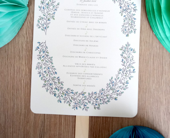 eventail de cérémonie mariage ceremonie laique papeterie mariage