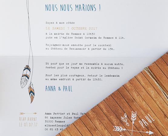 faire part mariage fond bois et flèches bohèmes plumes