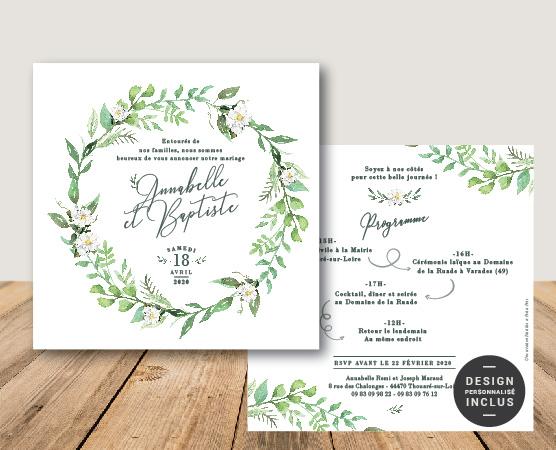 faire-part mariage couronne de fleurs champêtre chic blanc et vert