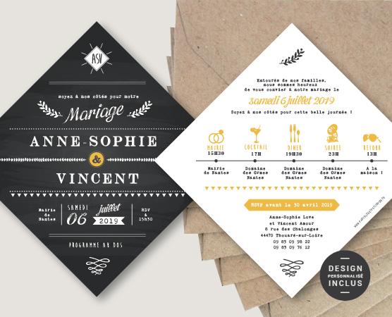 faire part mariage original ardoise format losange thème champêtre
