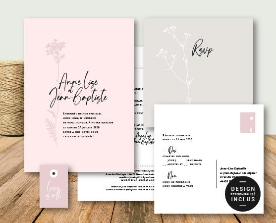 faire part mariage garden party thème végétal fleurs rose nude chic en papier recyclé