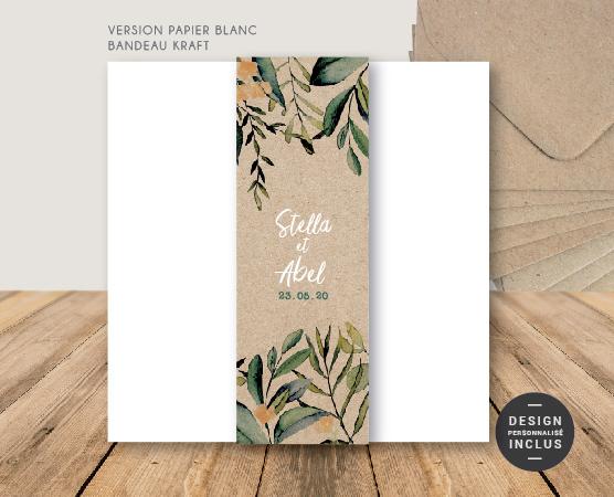 faire-part mariage kraft chic champêtre fleurs format carré avec bandeau personnalisable
