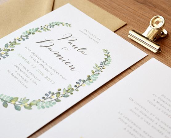 faire part mariage aquarelle couronne botanique