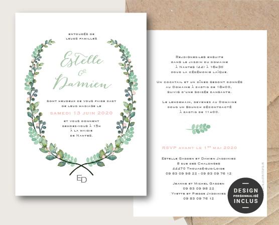 faire part mariage botanique thème végétal avec couronne de feuilles et fleurs chic et élégant