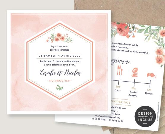 Faire-part de mariage Rose bohème aquarelle peche fleurs romantique bohème chic