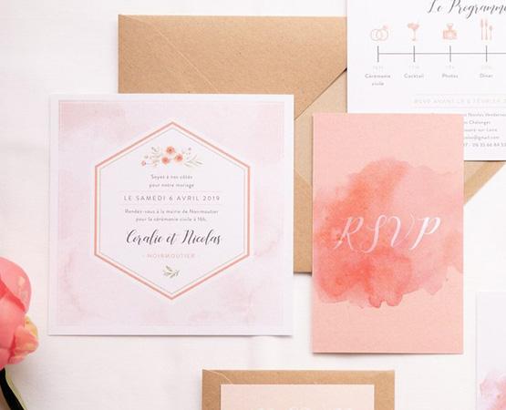 Faire-part de mariage Rose bohème quartz rose corail fleurs