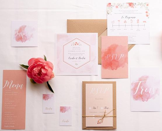 Faire-part de mariage Rose bohème aquarelle quartz rose corail fleurs