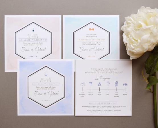Faire-part de mariage Aquarelle quartz | couleur poudrée pastel pictogramme chic | Pastilles et Petits Pois