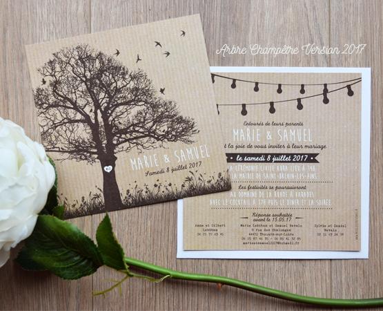 faire part mariage arbre champetre chic kraft et guirlande guinguette