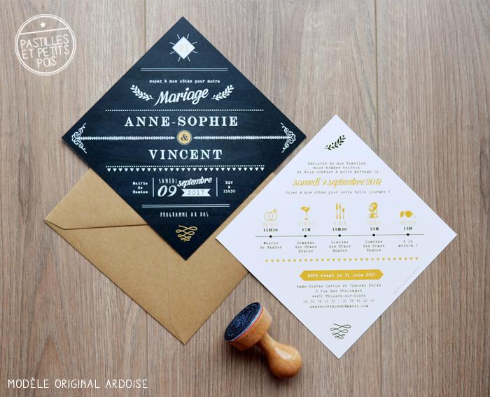 Faire-part mariage original ardoise : un format losange inédit personnalisable pour vos mariages à la décoration champêtre