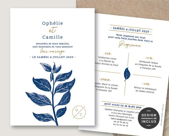 faire part mariage aromatique botanique fleur plantes herbes chic