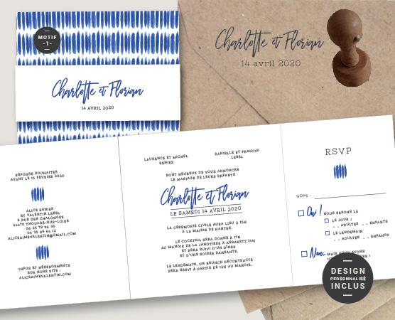 faire part mariage arty motifs graphiques modernes chic - tie and dye bleu mer
