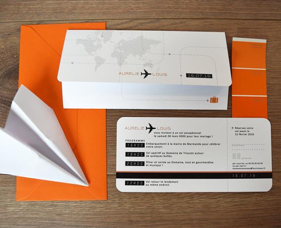 Faire-part de mariage Aéro | billet d'avion voyage carte du monde | Pastilles et Petits Pois