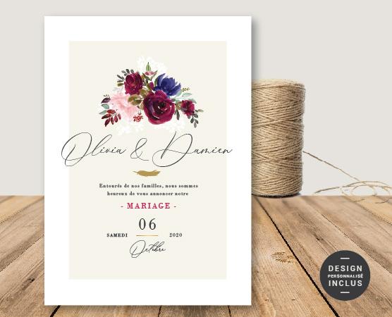 faire part mariage tipi boheme fleurs rose bordeaux gypsophile et plume avec cadre doré