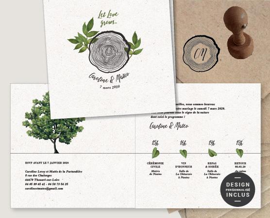 faire part mariage bois boheme recyclé écologique mariage responsable arbre