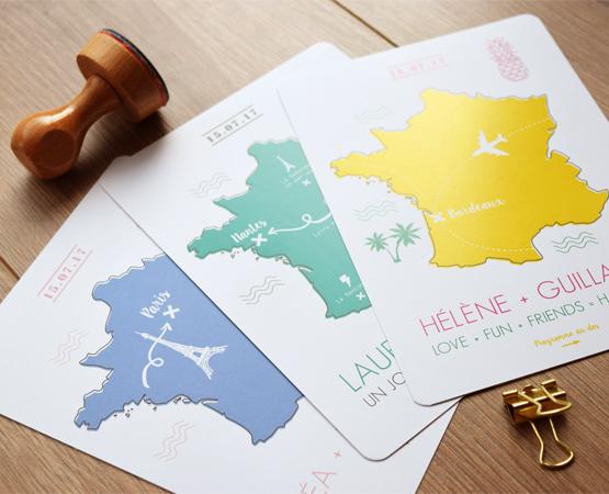 Faire-part de mariage Carte de France | pictogramme graphique voyage itinéraire | Pastilles et Petits Pois