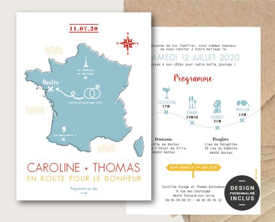 faire part mariage original et moderne thème régions de France déménagement et voyages avec carte