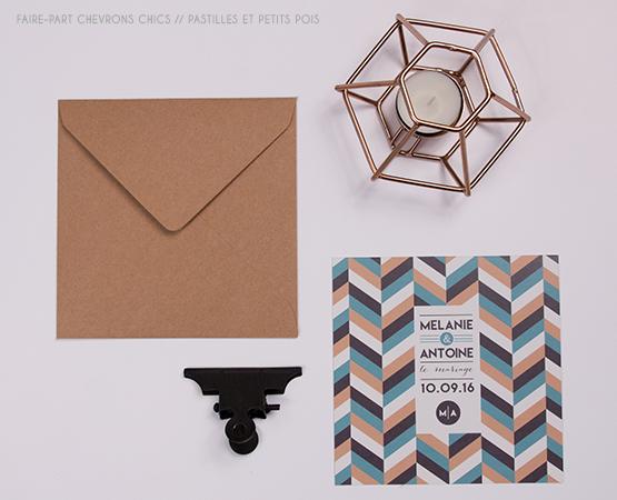 faire part mariage geometrique decoration cuivre et bleu