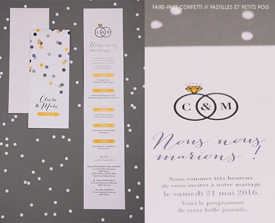 Faire-part de mariage Confetti | marque page pastilles rond jaune et gris | Pastilles et Petits Pois