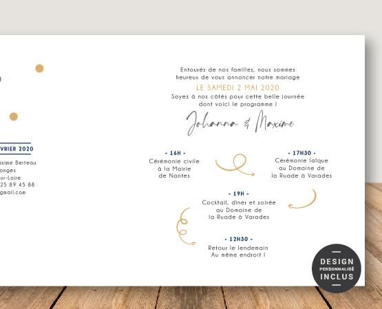 faire part mariage confetti thème couleurs ou à pois bleu et doré - terrazzo et confettis