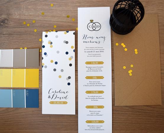 Faire-part de mariage Confetti | marque page pastilles rond jaune gris bleu | Pastilles et Petits Pois