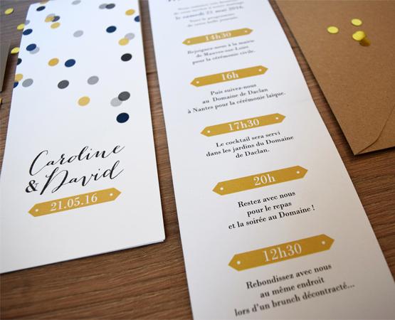 Faire-part de mariage Confetti | marque page pastilles rond couleurs | Pastilles et Petits Pois