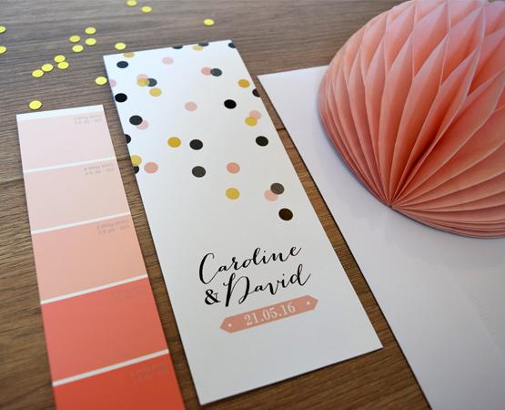 Faire-part de mariage Confetti | marque page pastilles rond gammes de roses | Pastilles et Petits Pois