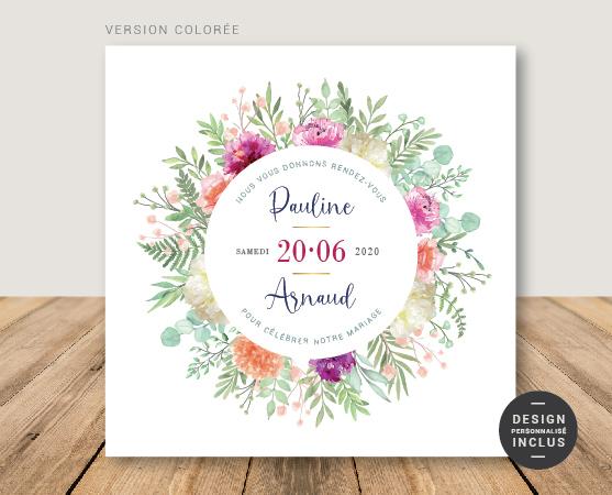 faire-part mariage romantique couronne de fleurs été summer mariage 2020