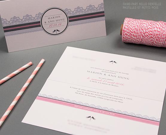 faire part motif dentelle elegant romantique rose gris