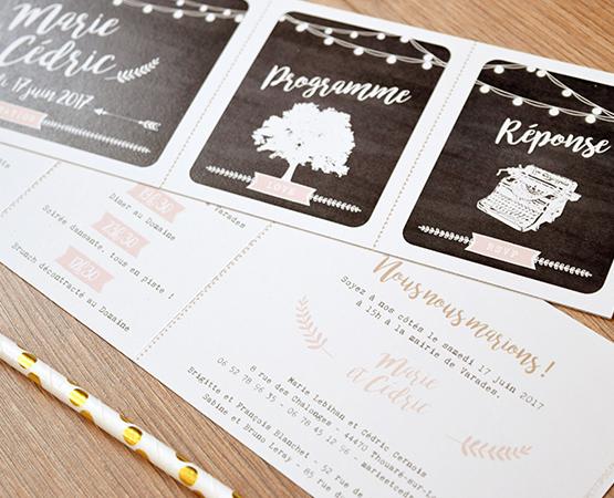 Faire-part de mariage Festival de Bonheur |champetre guinguette fond kraft arbre et guirlandes de lumières | Pastilles et Petits Pois