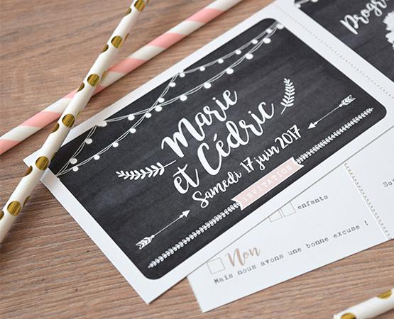 Faire-part de mariage Festival de Bonheur | champetre guinguette fond kraft arbre et guirlandes de lumières | Pastilles et Petits Pois