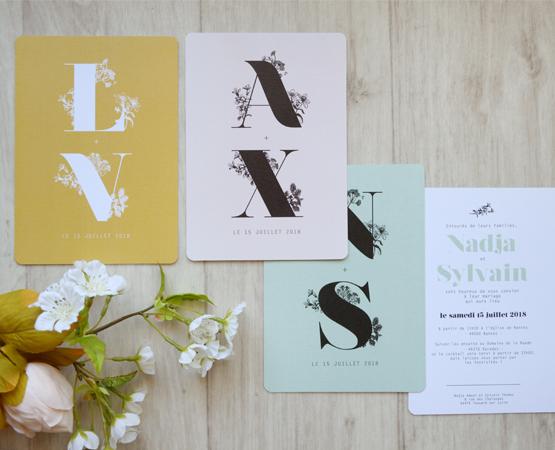 faire part mariage gravure botanique