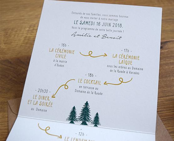 faire-part de mariage programme forêt kraft | Folk, Pastilles et Petits Pois