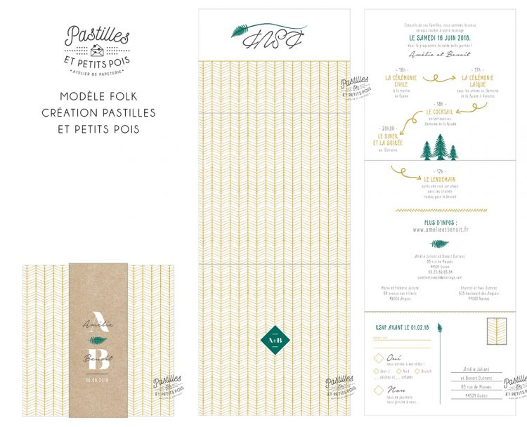 faire part mariage kraft recycle boheme vegetal foret