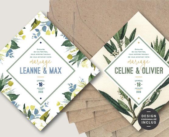 faire part mariage format original losange avec fond fleurs et olivier