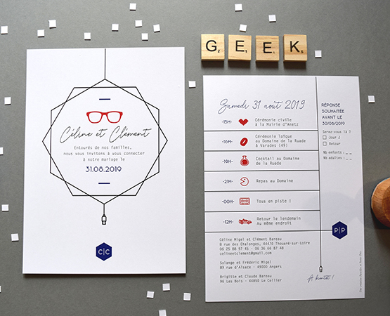 faire part mariage geek chic personnalisable
