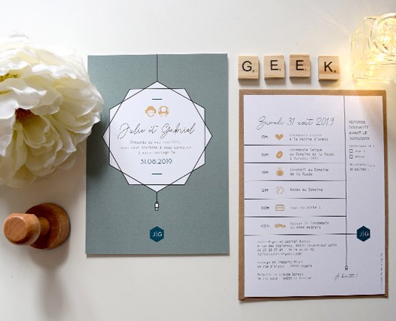 faire part mariage geek chic theme series, informatique jeux video films