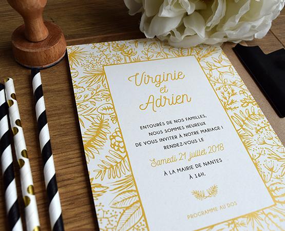 faire part mariage vegetal jaune et gris papier recycle