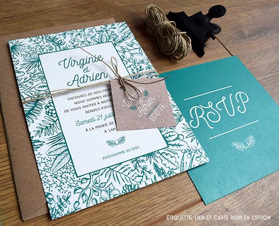 Favori Pastilles et Petits Pois Faire-part mariage green feuillage  WH06