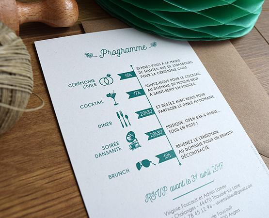 faire part mariage vegetal programme frise papier recycle