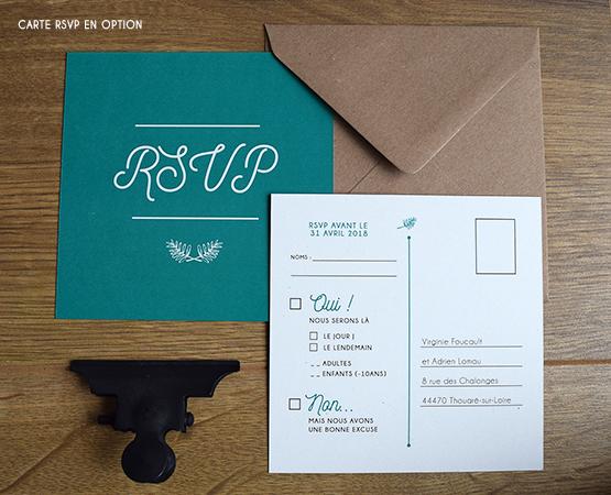 faire part mariage vegetal vert emeraude papier recycle