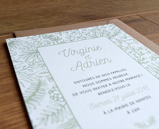 faire part mariage vegetal vert amande papier recycle